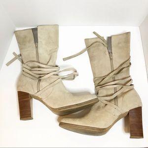 Candie's sand beige block heels calf boots 10